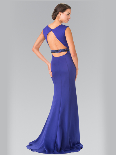 50-2306 High Neck Long Evening Dress with Cutout Back - Royal Blue, Back View Medium