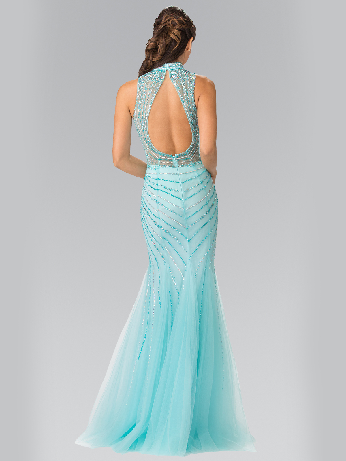 High Neck Beaded Prom Dress with Mermaid Hem | Sung Boutique L.A.