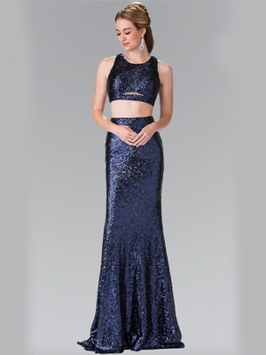 50-2333 Mock Two-Piece Sequin Long Prom Dress, Navy