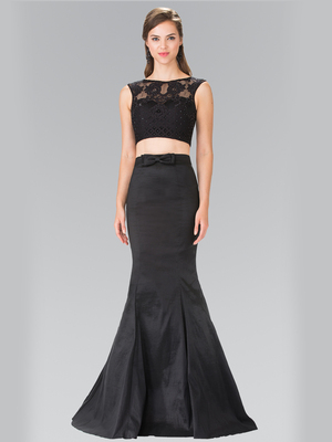 50-2354 Two Piece Taffeta Long Prom Dress, Black