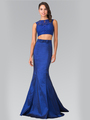 50-2354 Two Piece Taffeta Long Prom Dress - Navy, Front View Thumbnail