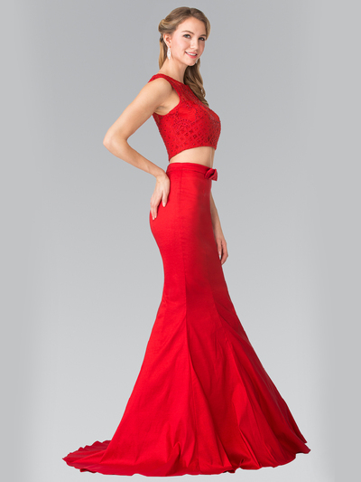 50-2354 Two Piece Taffeta Long Prom Dress - Red, Front View Medium