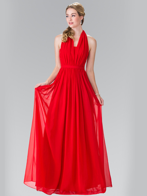 50-2362 Halter Chiffon Evening Dress with Open Back, Red