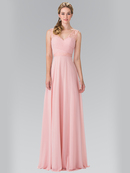 50-2363 Chiffon Bridesmaid Dresses with Lace Straps, Blush