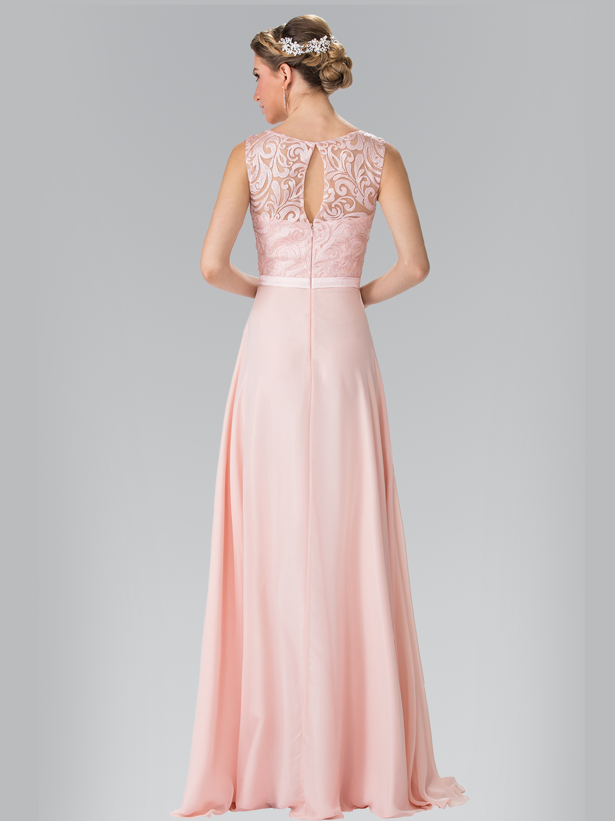 Embroidery Top Chiffon Long Evening Dress Sung Boutique L A