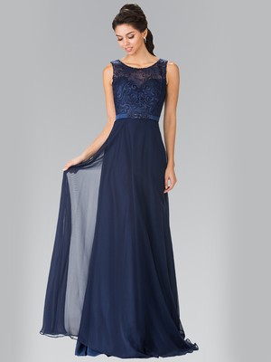 50-2364 Embroidery Top Chiffon Long Evening Dress, Navy
