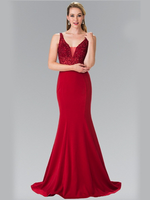 50-2372 V-Neck Long Prom Dress, Burgundy