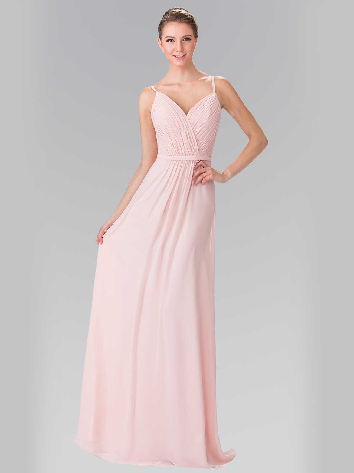 50 2374 Chiffon Bridesmaid Dress With Spaghetti Straps Blush Front View Medium