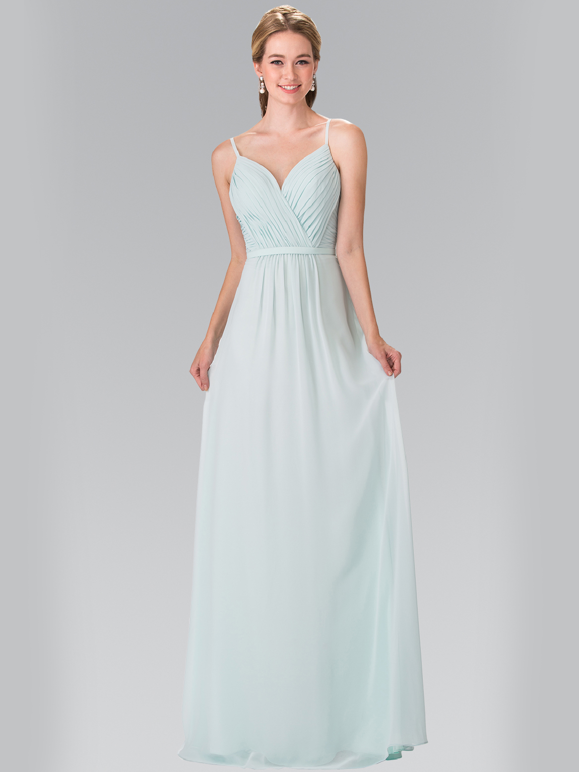 Chiffon bridesmaid dress with spaghetti straps sung boutique la 50 2374 chiffon bridesmaid dress with spaghetti straps mint front view medium ombrellifo Image collections