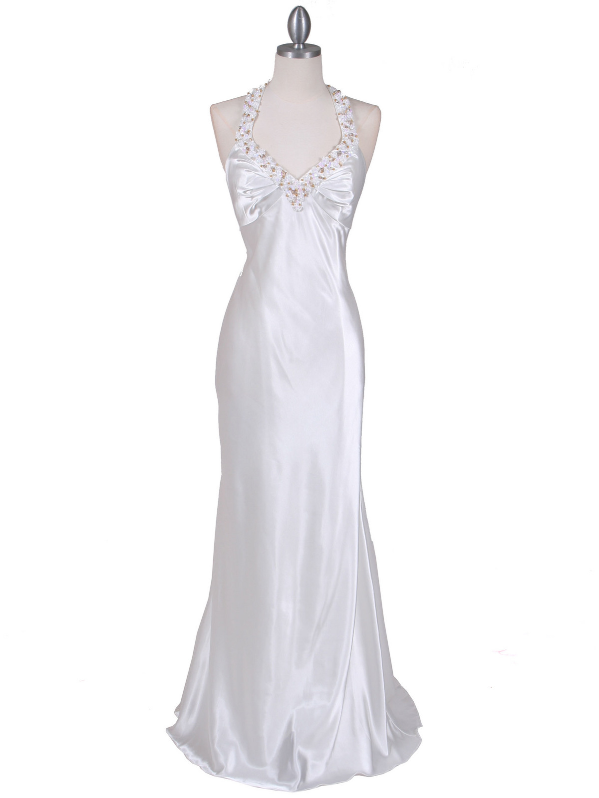 5005 Ivory Satin Evening Dresses - Front Image