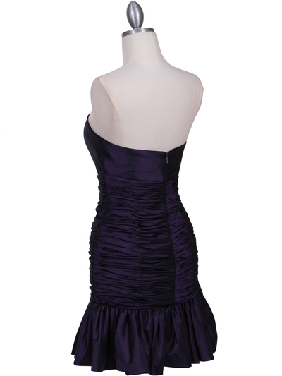 501 Purple Strapless Pleated Cocktail Dress - Purple, Back View Medium