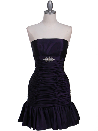501 Purple Strapless Pleated Cocktail Dress - Purple, Front View Medium
