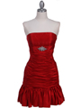 501 Red Strapless Pleated Cocktail Dress - Red, Front View Thumbnail
