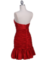 Red Strapless Pleated Cocktail Dress - Back Image