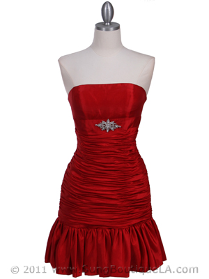 Red Strapless Pleated Cocktail Dress - Front Image