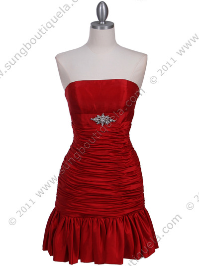 501 Red Strapless Pleated Cocktail Dress - Red, Front View Medium