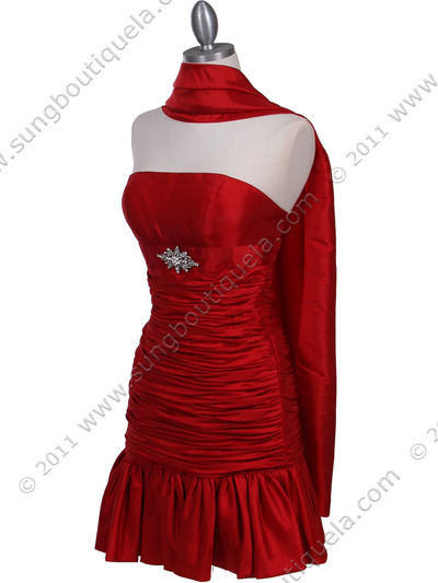501 Red Strapless Pleated Cocktail Dress - Red, Alt View Medium