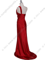 5057 Red One Shoulder Evening Dress - Red, Back View Thumbnail