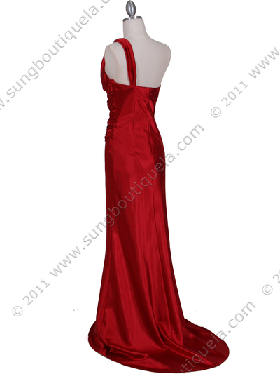 5057 Red One Shoulder Evening Dress - Red, Back View Medium