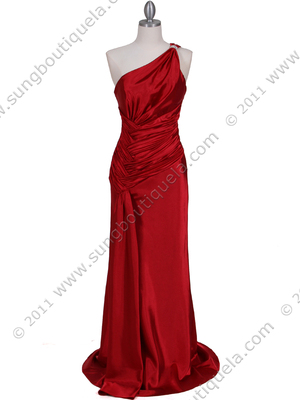 5057 Red One Shoulder Evening Dress, Red