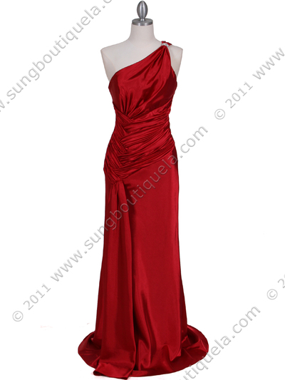 5057 Red One Shoulder Evening Dress - Red, Front View Medium