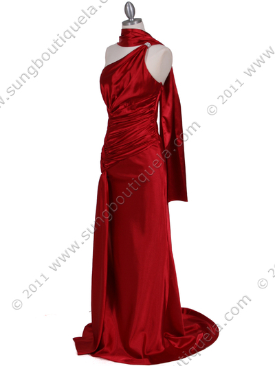 5057 Red One Shoulder Evening Dress - Red, Alt View Medium