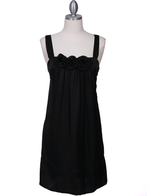 5076 Black Rosette Cocktail Dress, Black