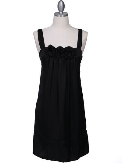 5076 Black Rosette Cocktail Dress - Black, Front View Medium