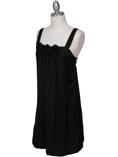 5076 Black Rosette Cocktail Dress - Black, Alt View Medium