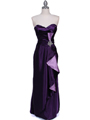 5087 Purple  Satin Strapless Evening Dress - Purple, Front View Thumbnail