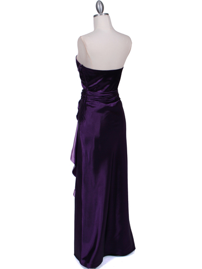 5087 Purple  Satin Strapless Evening Dress - Purple, Back View Medium
