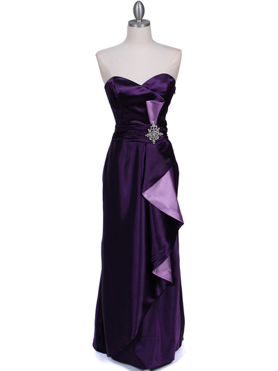 5087 Purple  Satin Strapless Evening Dress - Purple, Front View Medium