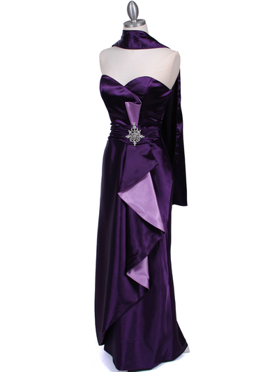 5087 Purple  Satin Strapless Evening Dress - Purple, Alt View Medium