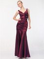 5098 Burgundy Satin Evening Dress - Burgundy, Front View Thumbnail