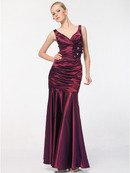 Burgundy Satin Evening Dress