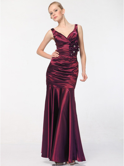5098 Burgundy Satin Evening Dress - Burgundy, Front View Medium