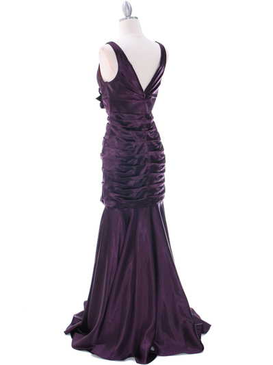 5098 Dark Purple Bridesmaid Dress - Dark Purple, Back View Medium