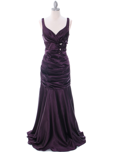 5098 Dark Purple Bridesmaid Dress - Dark Purple, Front View Medium