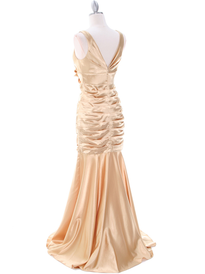 5098 Gold Bridesmaid Dress - Gold, Back View Medium