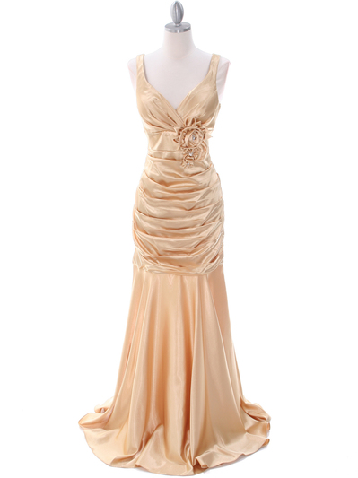 5098 Gold Bridesmaid Dress - Gold, Front View Medium
