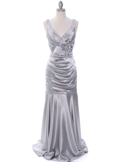 5098 Silver Bridesmaid Dress - Silver, Front View Medium