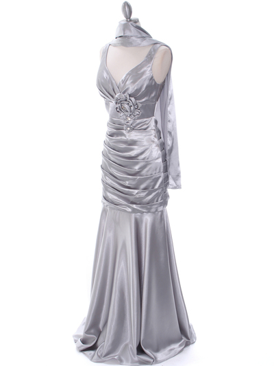 5098 Silver Bridesmaid Dress - Silver, Alt View Medium