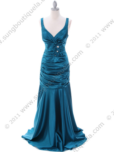 5098 Teal Bridesmaid Dress - Teal, Front View Medium