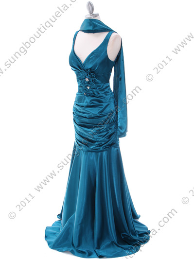 5098 Teal Bridesmaid Dress - Teal, Alt View Medium