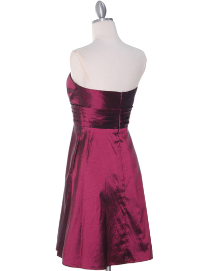 509 Burgundy Taffeta Cocktail Dress - Burgundy, Back View Medium