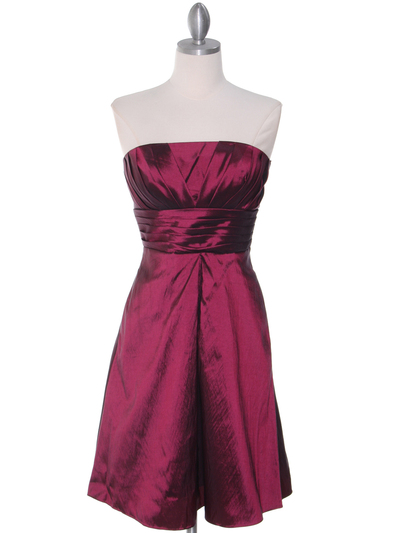 509 Burgundy Taffeta Cocktail Dress - Burgundy, Front View Medium
