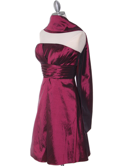 509 Burgundy Taffeta Cocktail Dress - Burgundy, Alt View Medium