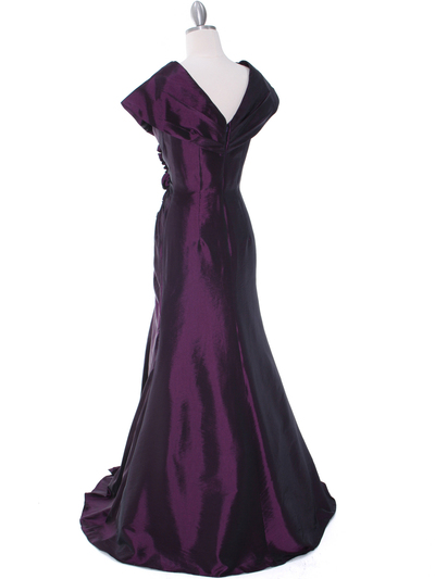 513 Vintage Taffeta Evening Dress - Eggplant, Back View Medium