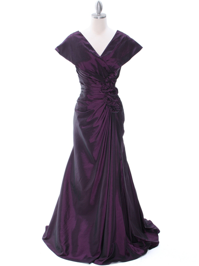 513 Vintage Taffeta Evening Dress - Eggplant, Front View Medium