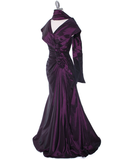 513 Vintage Taffeta Evening Dress - Eggplant, Alt View Medium
